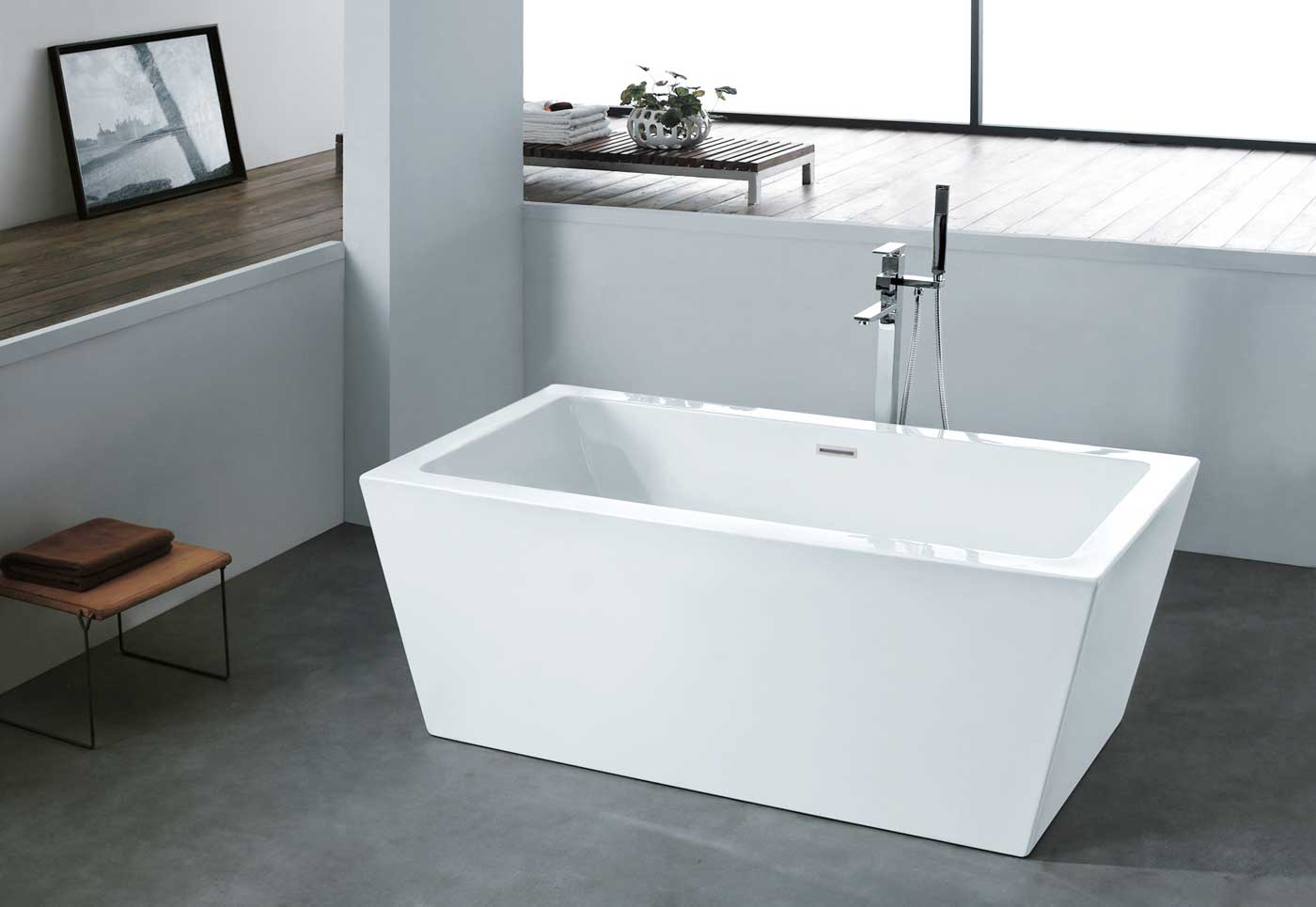 ALFIO - Acrylic Rectangular Freestanding Bathtub - Pacific Aqua Line