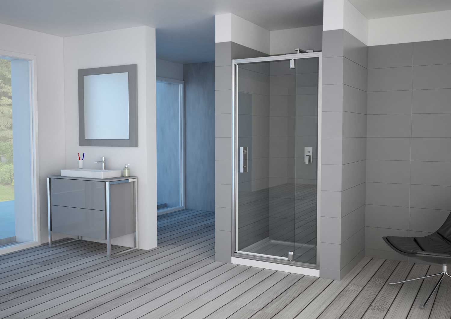 luxus telescopic pivot shower door framed pacific